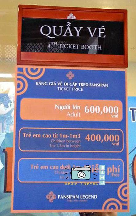 ticket Fansipan mountain